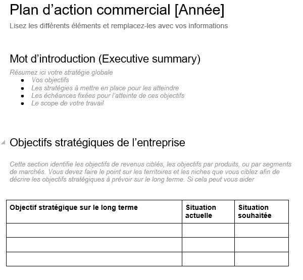Modèle de plan d'action commercial