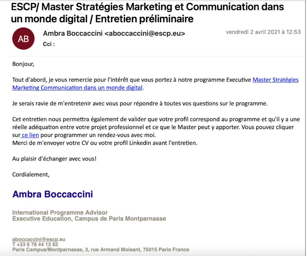 Exemple email scénario automation marketing