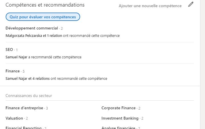 Compétences LinkedIn CV