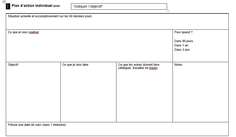 Modèle de Plan d'action individuel