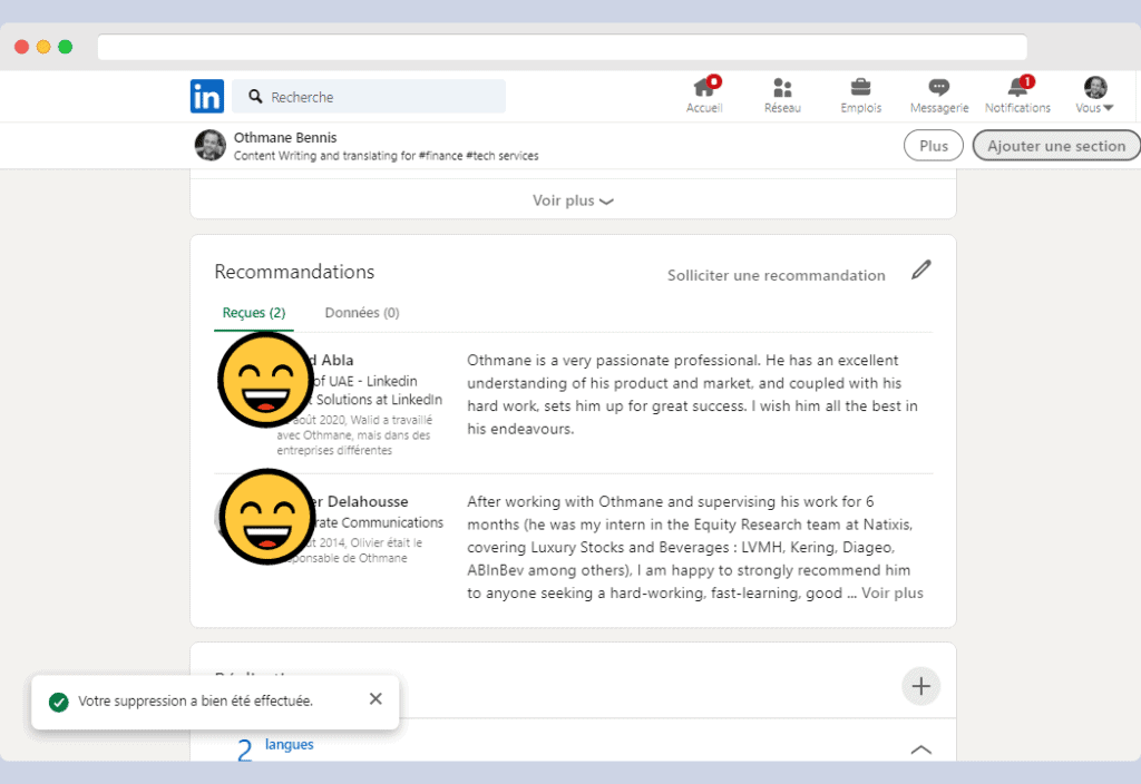 recommandation sur LinkedIn