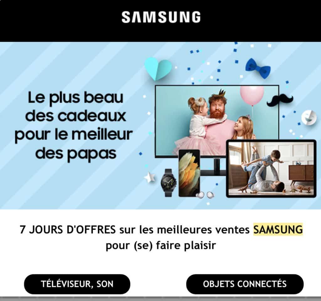 Message publicitaire Samsung
